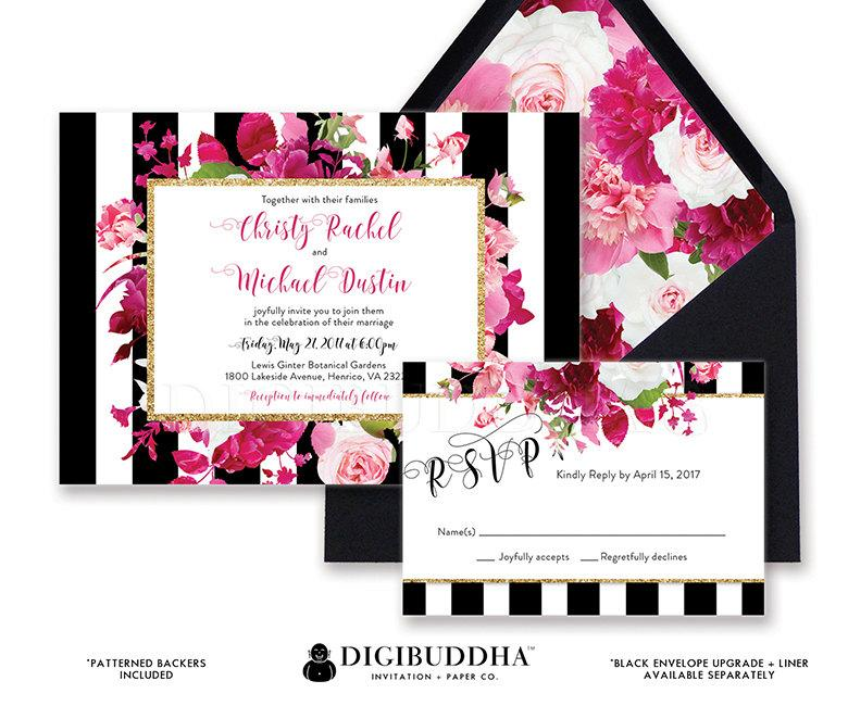 WEDDING INVITATIONS SUITE Wedding Invitation Set 2 Piece Wedding RsVP Invites  Black White Striped Pink Ready Made Printed Or DiY   Christy