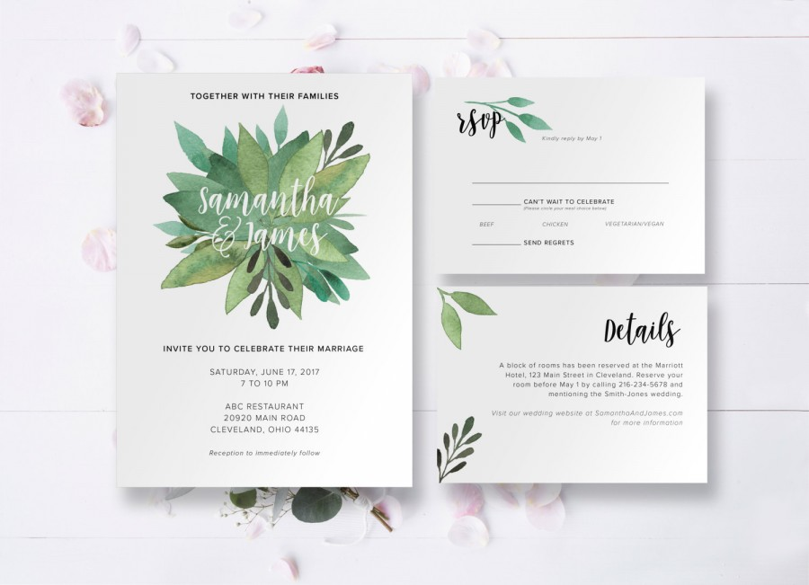 watercolor greenery floral wedding invitation custom printable