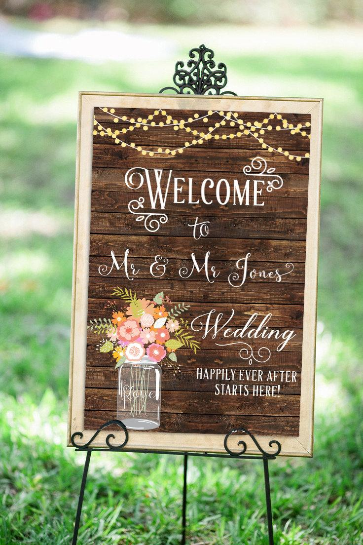 welcome sign wedding bridal shower welcome sign rustic welcome