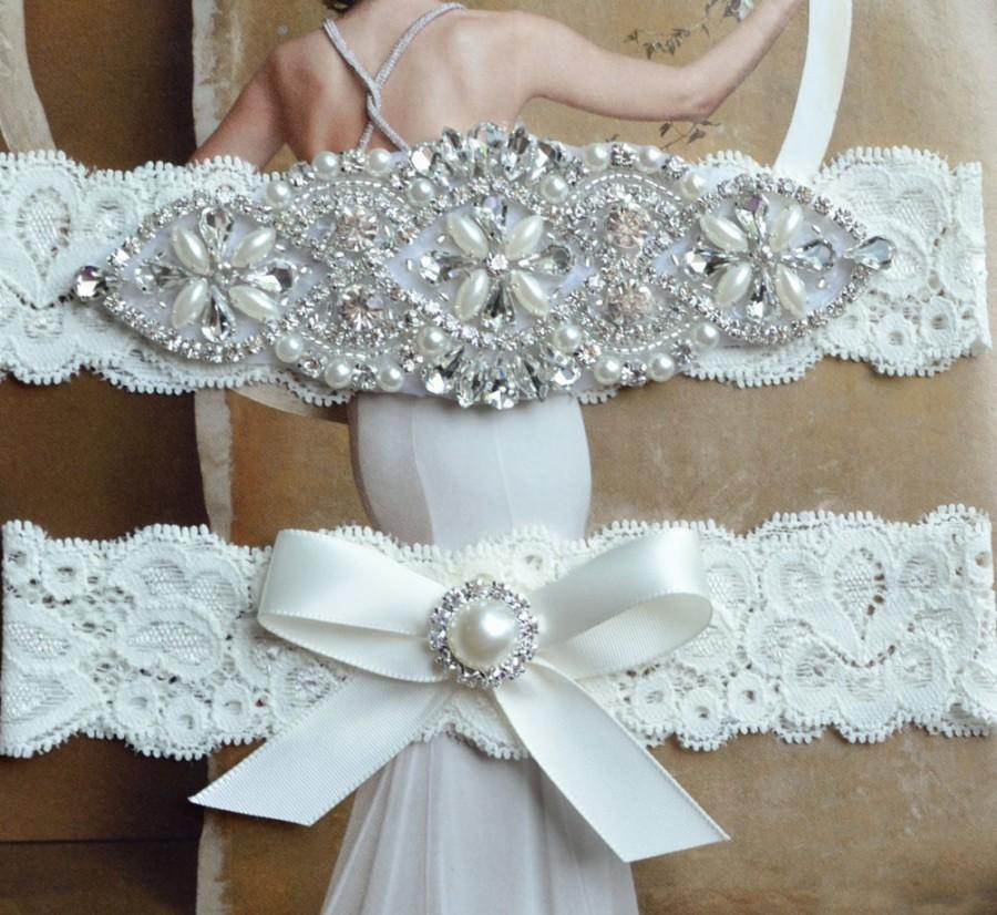 Hochzeit - Petite to Plus size wedding garter set, bridal garter petite to plus size, bridal lingerie, ivory wedding garter, prom, Grace Style 10525