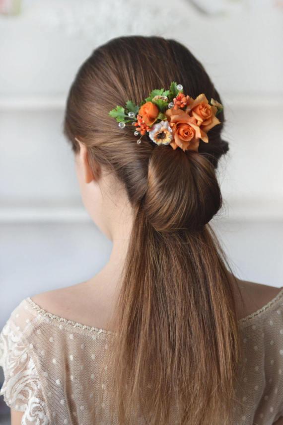 Wedding - Rose hair comb orange flower head piece summer floral comb orange wedding summer hair back flowers bridesmaids hair peach bridal comb bright