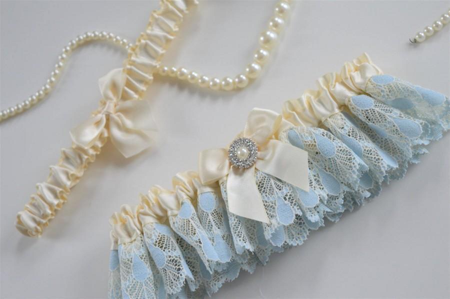 Mariage - Satin Garter (Bride Only Or Set with Toss Garter) Vintage Blue