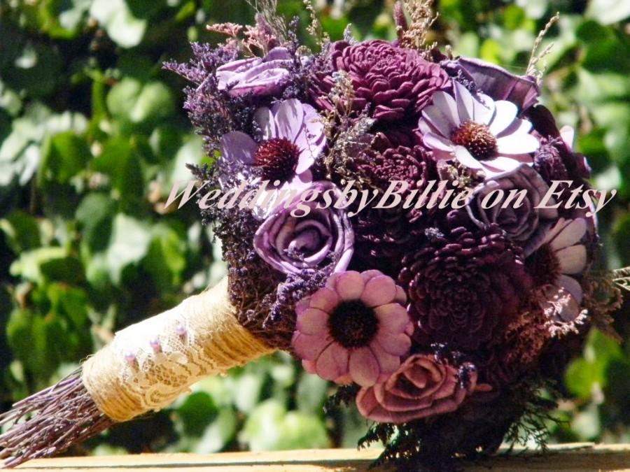 Wedding - Plum Purple Sola Flower Bouquet, Plum Wedding, Lavender Plum Sola Bouquet, Alternative Bouquet, Bridal Accessories,Keepsake Bouquet, Sola