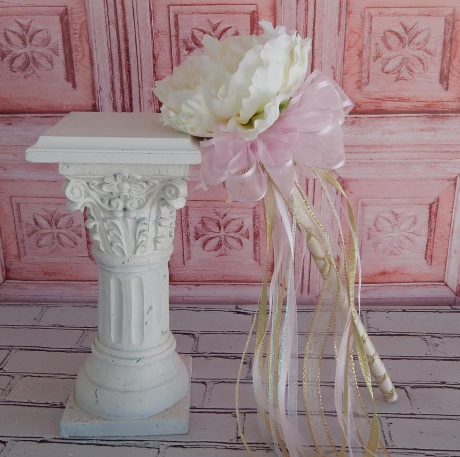 Flower Girl Wand- White Peony Pink And Gold Wand- Wedding Accessory ...