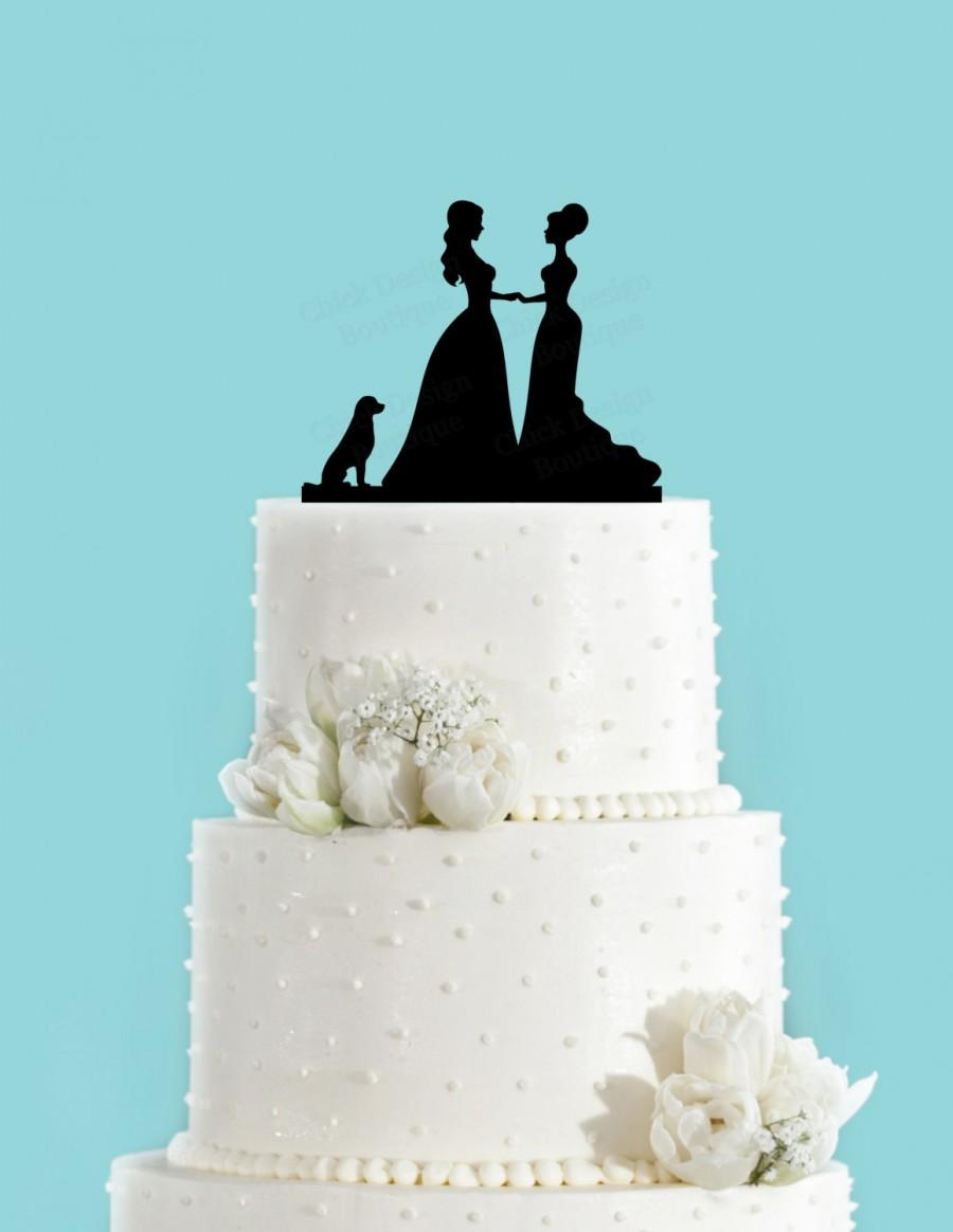 Mariage - Bride and Bride Couple with Dog Acrylic Wedding Cake Topper, Same Sex Cake Topper, Lesbian Cake Topper