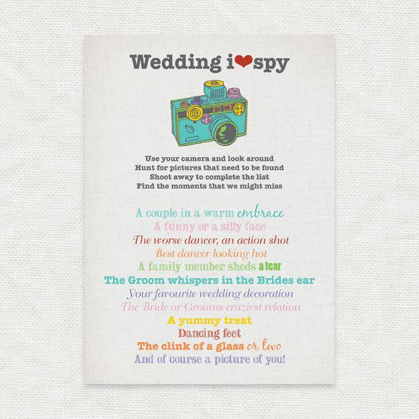 Mariage - I SPY wedding - printable party file - wedding reception game instant download disposable camera ispy fun card