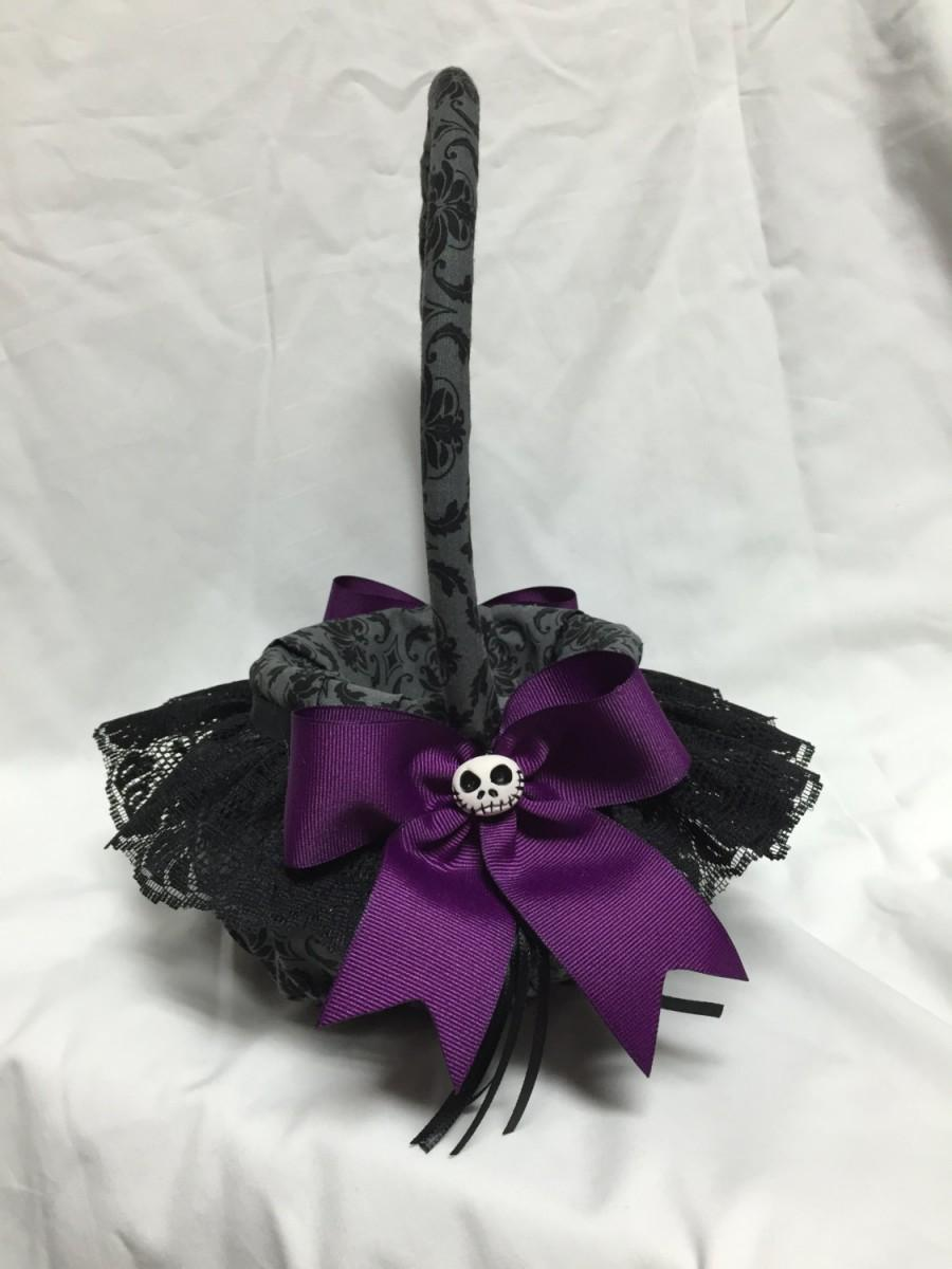 Hochzeit - Nightmare Damask custom Flower Girl Basket