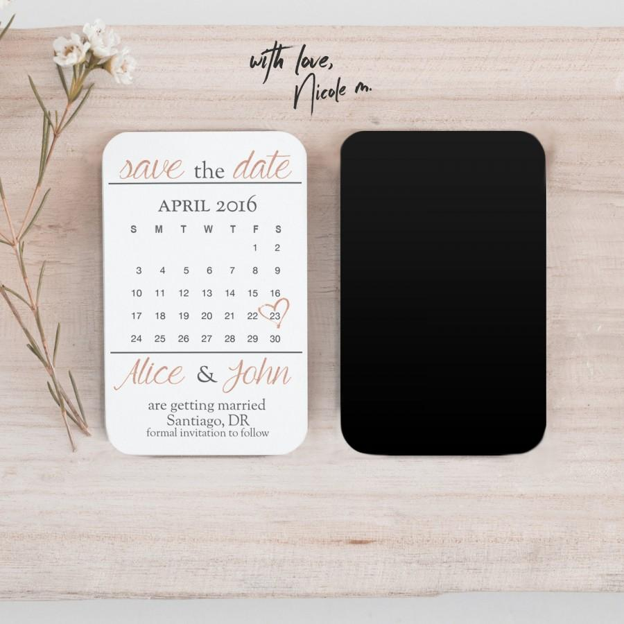 Свадьба - Mini Rose Gold Save the Date Calendar Magnet