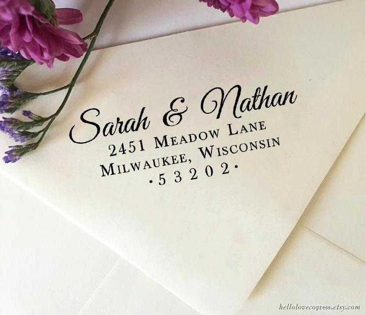 Mariage - Return Address Stamp, Self Inking Return Address Stamp, Custom Wedding Stamp, Wooden Stamp, Eco Rubber Stamp, Personalized Wedding Stamp