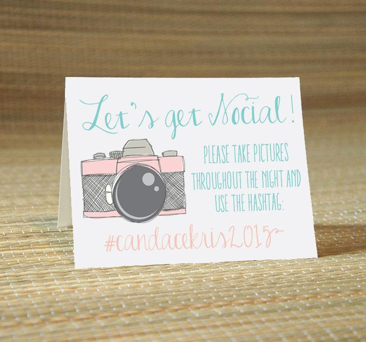 Hochzeit - Lets Get Social Hashtag Social Media Place Cards -Wedding Calligraphy for Place Card, Escort Card, Name Card, Table Card