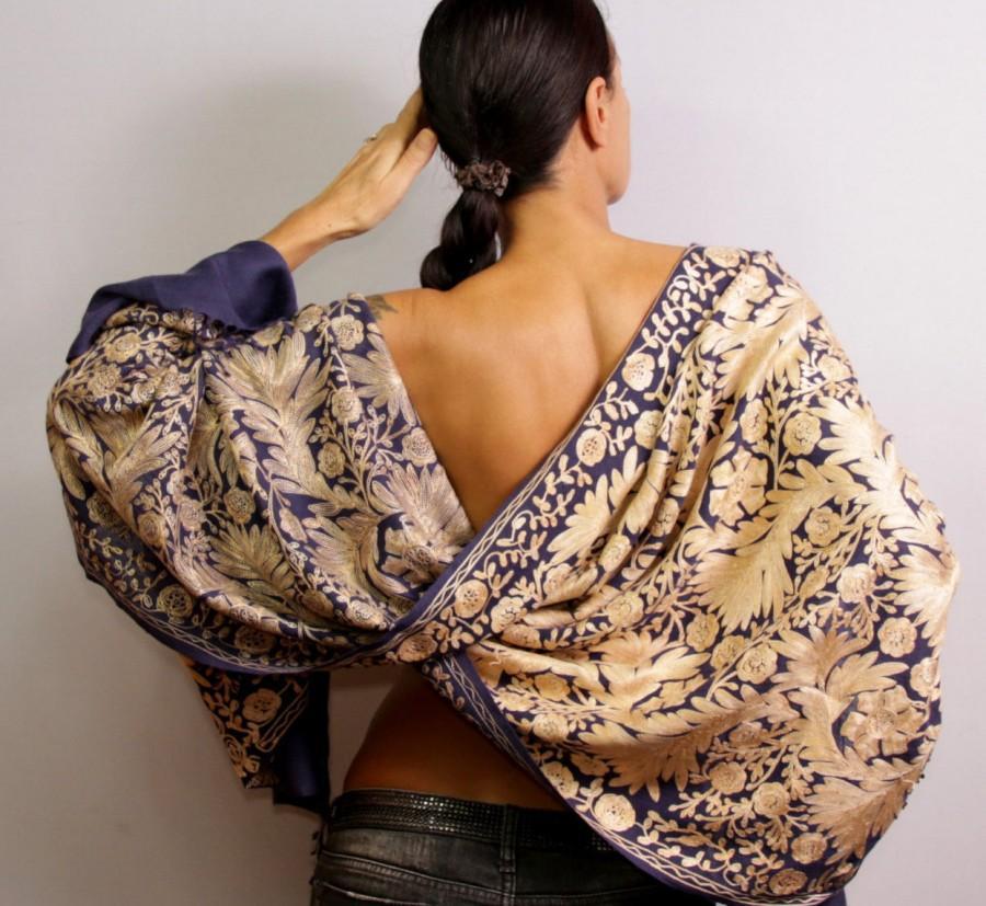 Hochzeit - Pashmina Shawl, Wedding Shawl, Wedding Stole, Wool Pashmina Scarf, Silk Shawl, Purple Gold Pashmina Wrap, Silk Embroidered Beaded Shawl