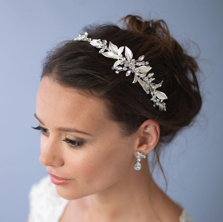 Hochzeit - Floral Rhinestone Headband, Bridal Hair Accessory, Floral Bridal Headband, Floral Wedding Headband, Bride Headband,Bridal Headpiece ~TI-3282