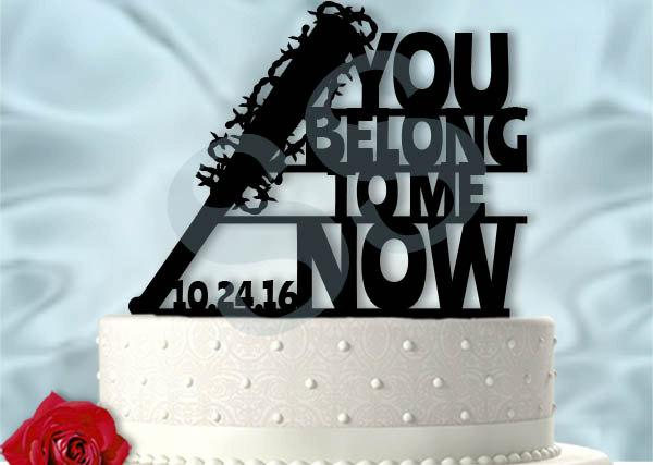 Mariage - Walking Dead Wedding Negan You Belong To Me Now Lucille Inspired Wedding Cake Topper