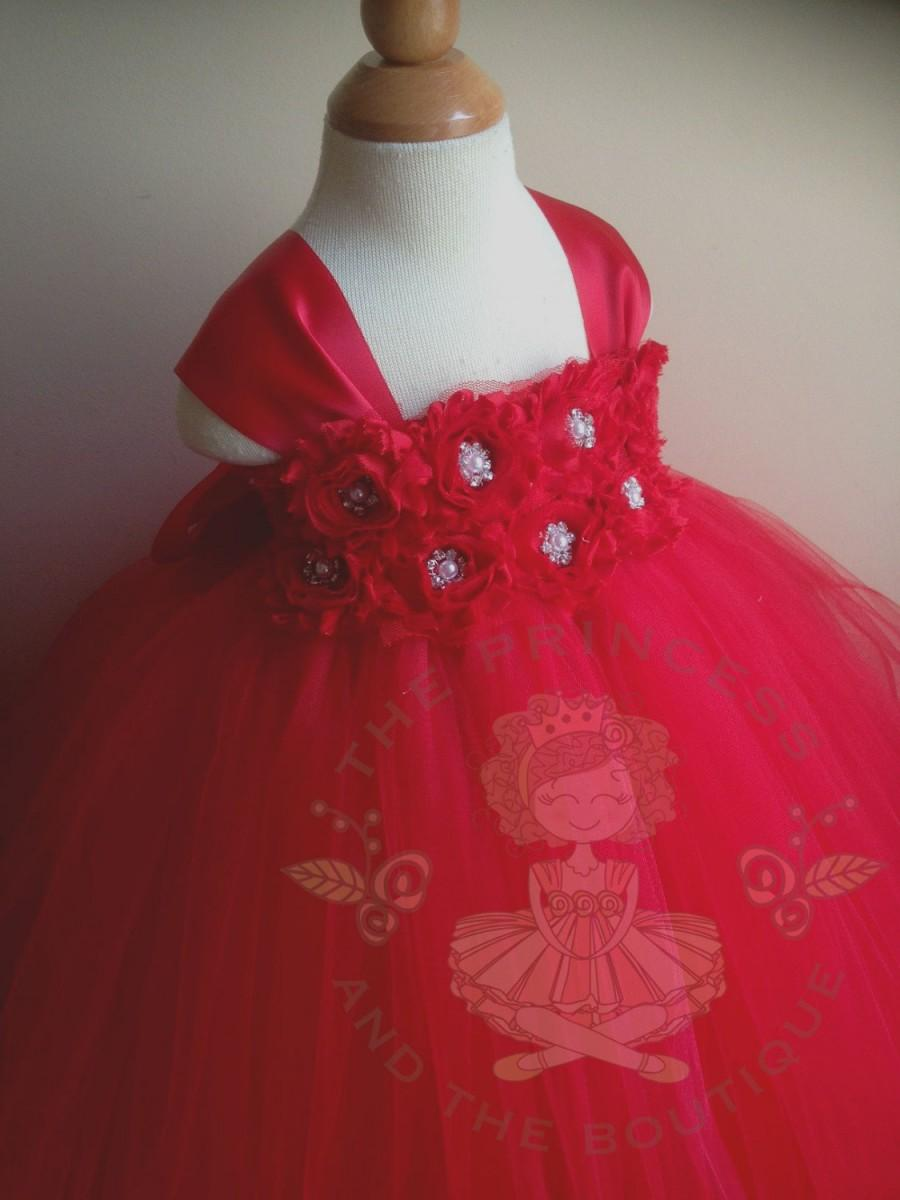 Wedding - red flower girl dress, flower girl dress red, red tutu dress, red tulle dress, red girls dress, girls dresses, girls birthday outfit