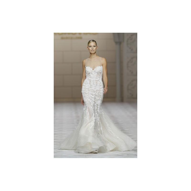 زفاف - Pronovias Fall 2015 Dress 1 - Fall 2015 White Sweetheart Fit and Flare Pronovias Full Length - Nonmiss One Wedding Store