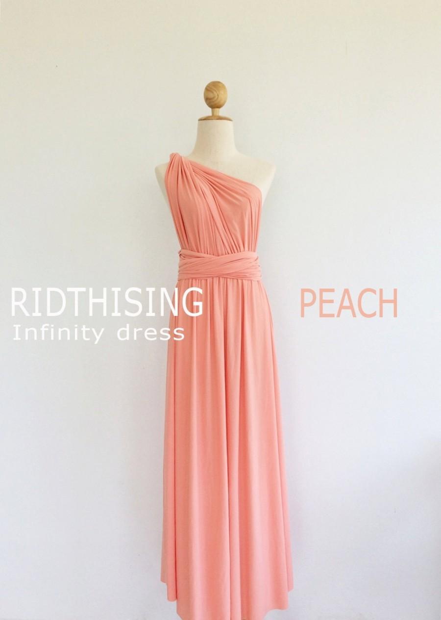 Mariage - Maxi Peach Bridesmaid Dress Infinity Dress Bridesmaid Dress Prom Dress Convertible Dress Wrap Dress