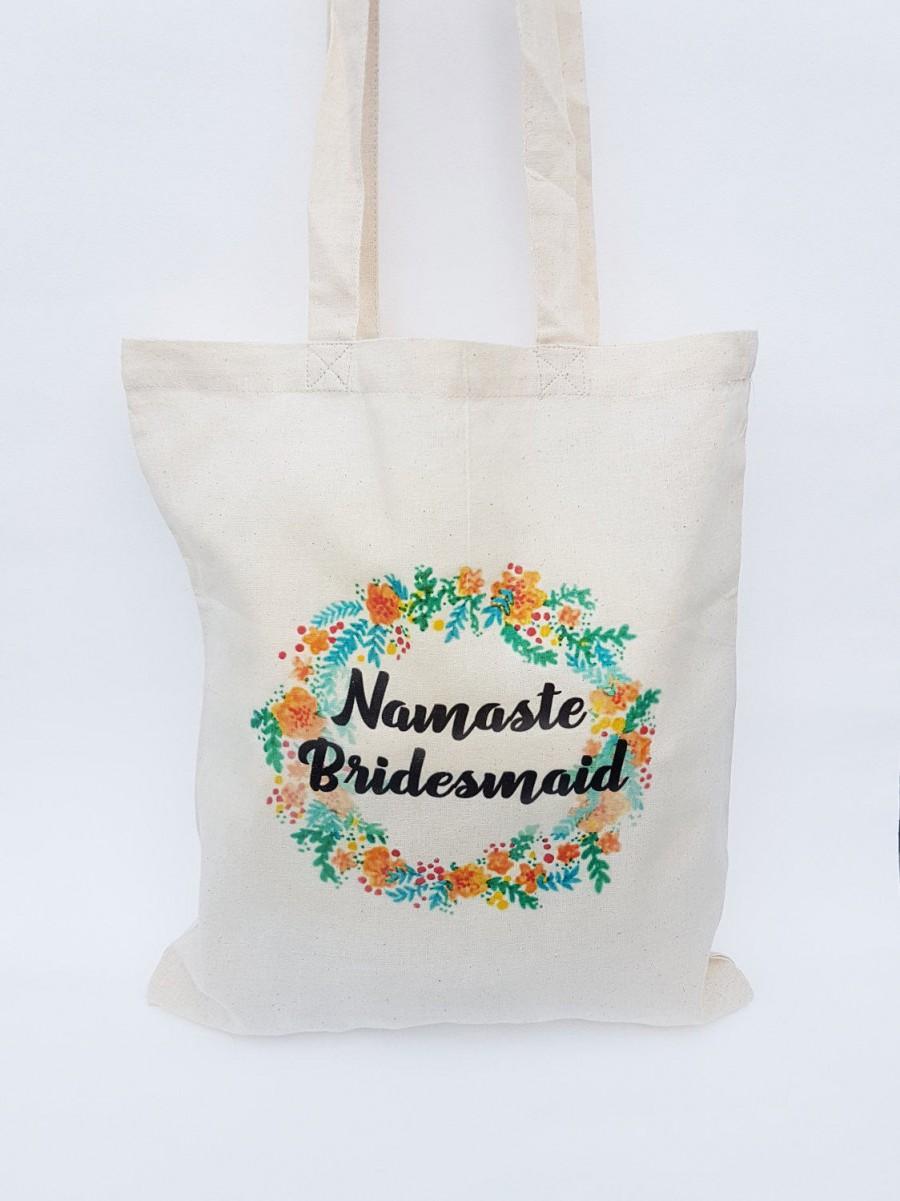 Свадьба - Bridesmaid tote bag - Personalised bridesmaid tote bag  - Wedding day tote bag - Namaste bridesmaid tote bag - Tote bag - Funny tote bag