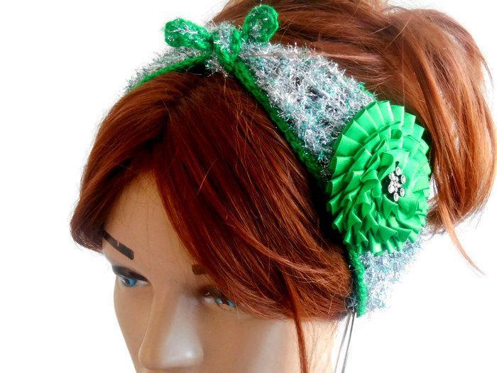 Свадьба - Silver Color Headband, Gypsy Headband, Boho Headband, Knitted Head Band, Knitted Hair Band, Head Turban, Women's Headband, Crochet Headband