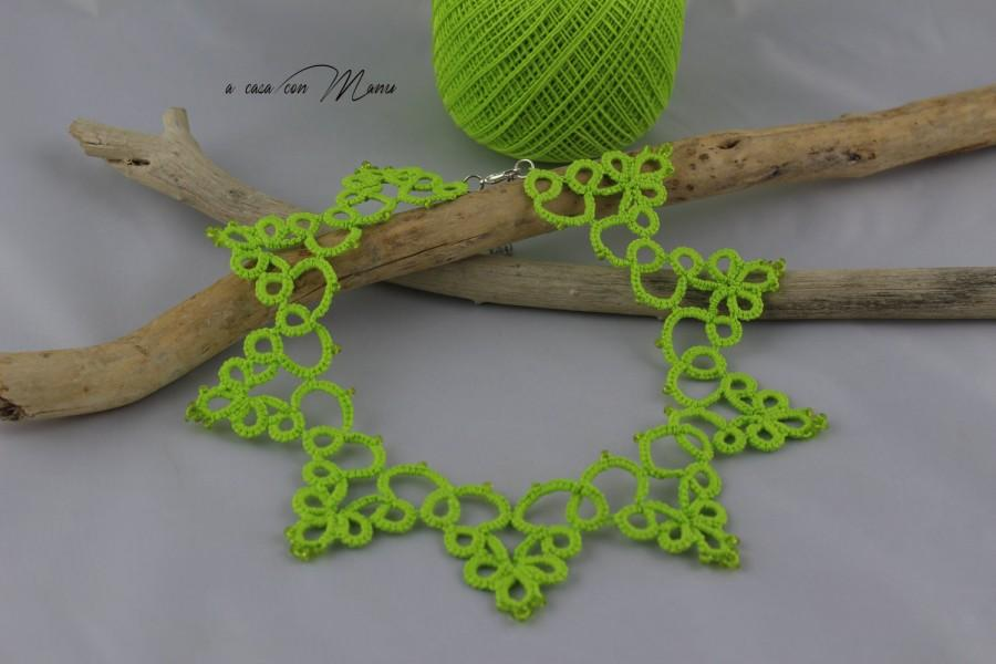 Hochzeit - Collana verde pizzo chiacchierino, green lace necklace tatting, tatting necklace, per lei, summer fashion, moda estate, made in italy