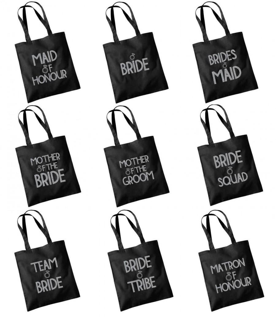 Wedding - Glitter Print Wedding Party Bridal Tote Bag Bridesmaid Favour Hen Party Gift Bag