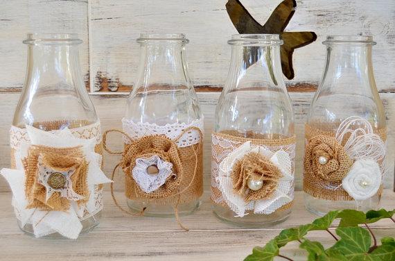 Jarr n decorado arpillera flores centro mesa boda set 4 for Jarron cristal decoracion