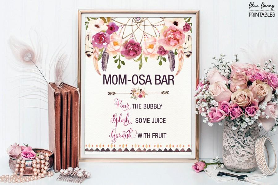 Hochzeit - Printable MOMOSA BAR. Bohemian Baby Shower Mimosa Bar Sign. Boho Floral Baby Shower Decoration. Dream Catcher Decor. Rustic Feathers FLO13