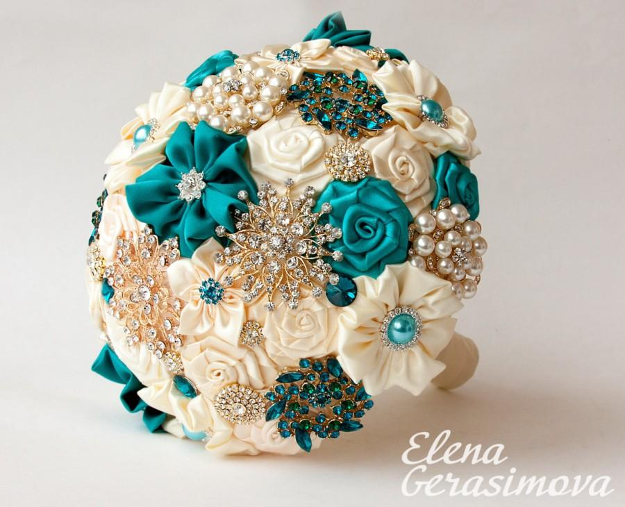 Mariage - Brooch Bouquet. Ivory Turquoise Fabric Bouquet, Unique Wedding Bridal Bouquet