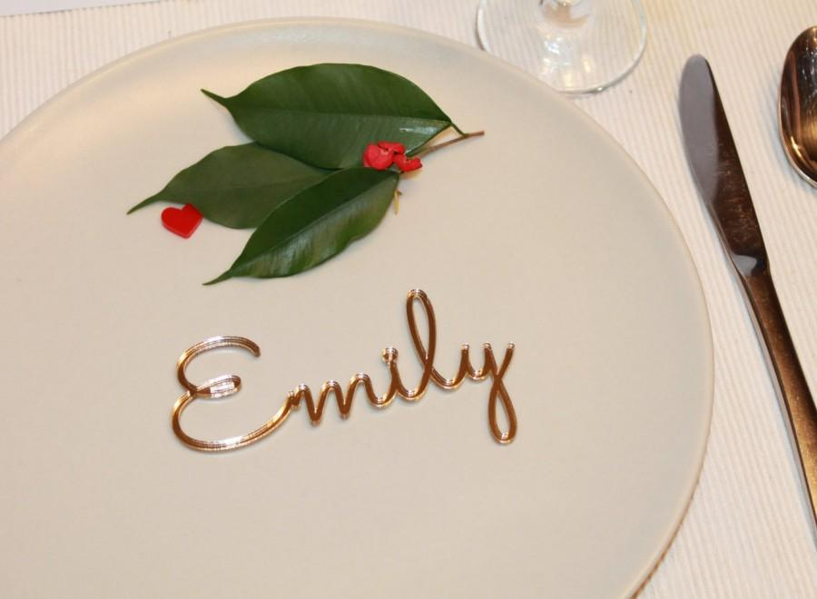 Mariage - Wedding Place Setting, Dinner Party, Laser Cut Names, Wedding Table Place, Guest Names, Wedding Gold Sign, Gold Wedding Centerpieces,  50