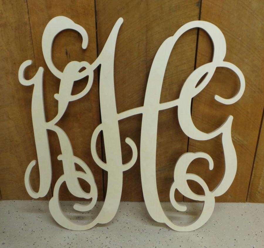 Wedding - Wooden Monogram - Unfinished Vine Script Monogram - Monogram Door Hanger - Monogram Bridesmaid Gift - Wedding Monogram - Wood Letter