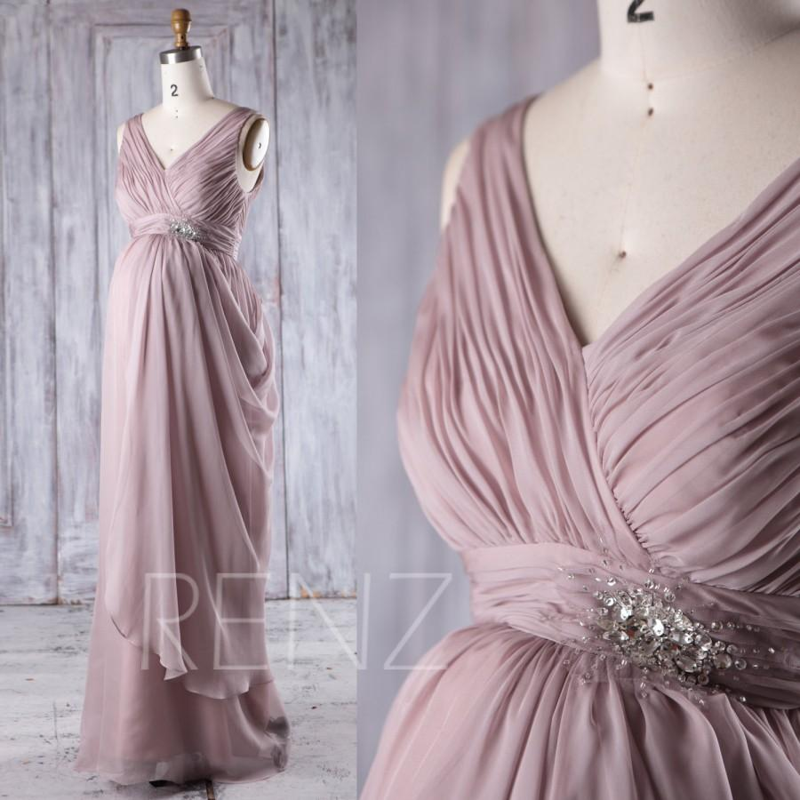 Boda - 2017 Rose Gray Bridesmaid Dress Maternity, Ruched Draped Chiffon Wedding Dress, V Neck Prom Dress Long, Formal Dress Floor Length (LM256)