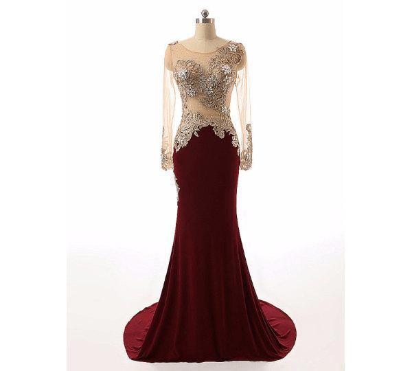 Long Sleeve Prom Dresses Burgundy Prom Dresses Mermaid Evening Dress