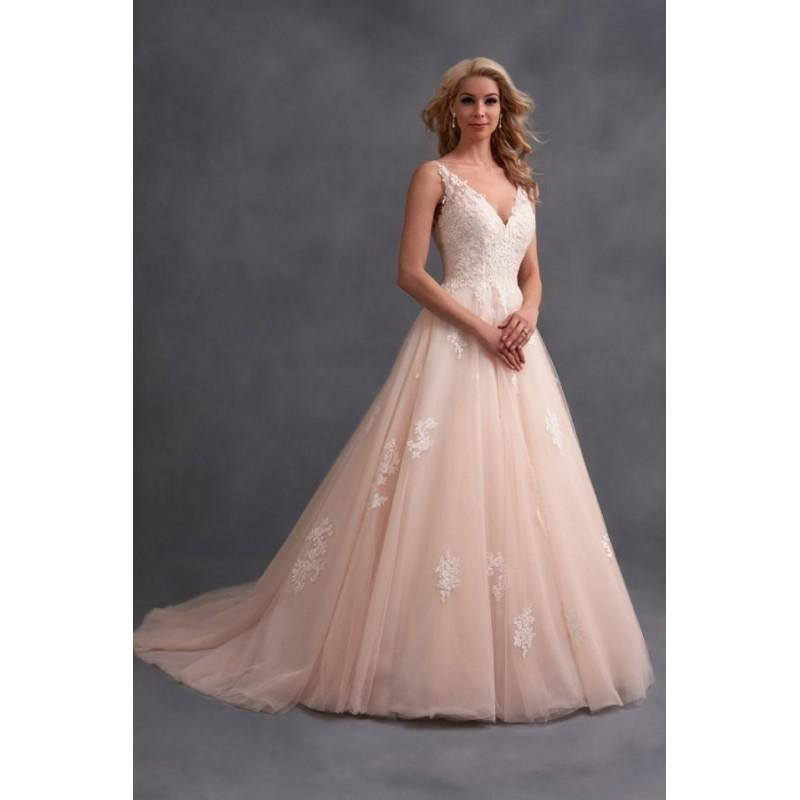 Mariage - Style 2577 by Alfred Angelo Signature Collection - Chapel Length Sleeveless Ballgown LaceTulle Floor length V-neck Dress - 2017 Unique Wedding Shop