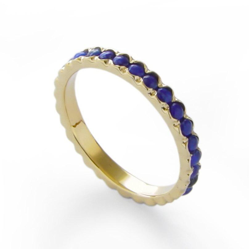 Wedding - Lapis Gold Ring, Blue Gemstone wedding ring, Infinity band, Vintage style Handmade gold band, thin classic engagement ring, Blue Lapis band