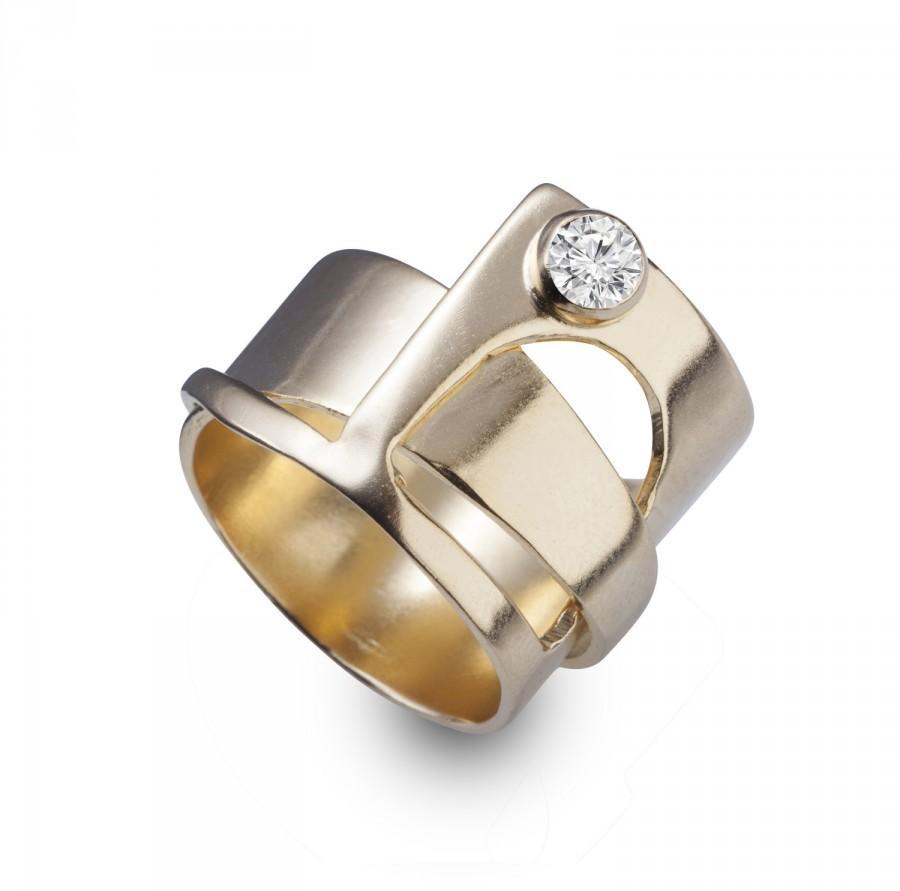 Hochzeit - Engagement Rings - Unique Engagement Ring - 14k Gold Rings - Engagement Rings Yellow Gold - Wedding Ring - Round Diamond