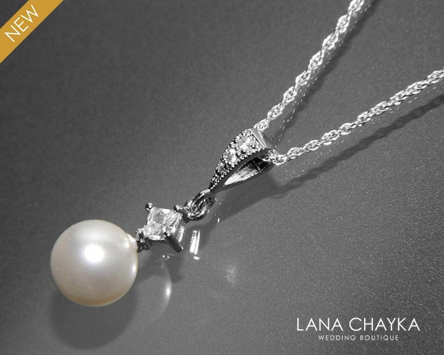 Свадьба - White Pearl Drop Necklace Swarovski 8mm White Pearl CZ Necklace Single Pearl Wedding Necklace Sterling Silver Pearl Necklace Bridal Jewelry - $22.50 USD