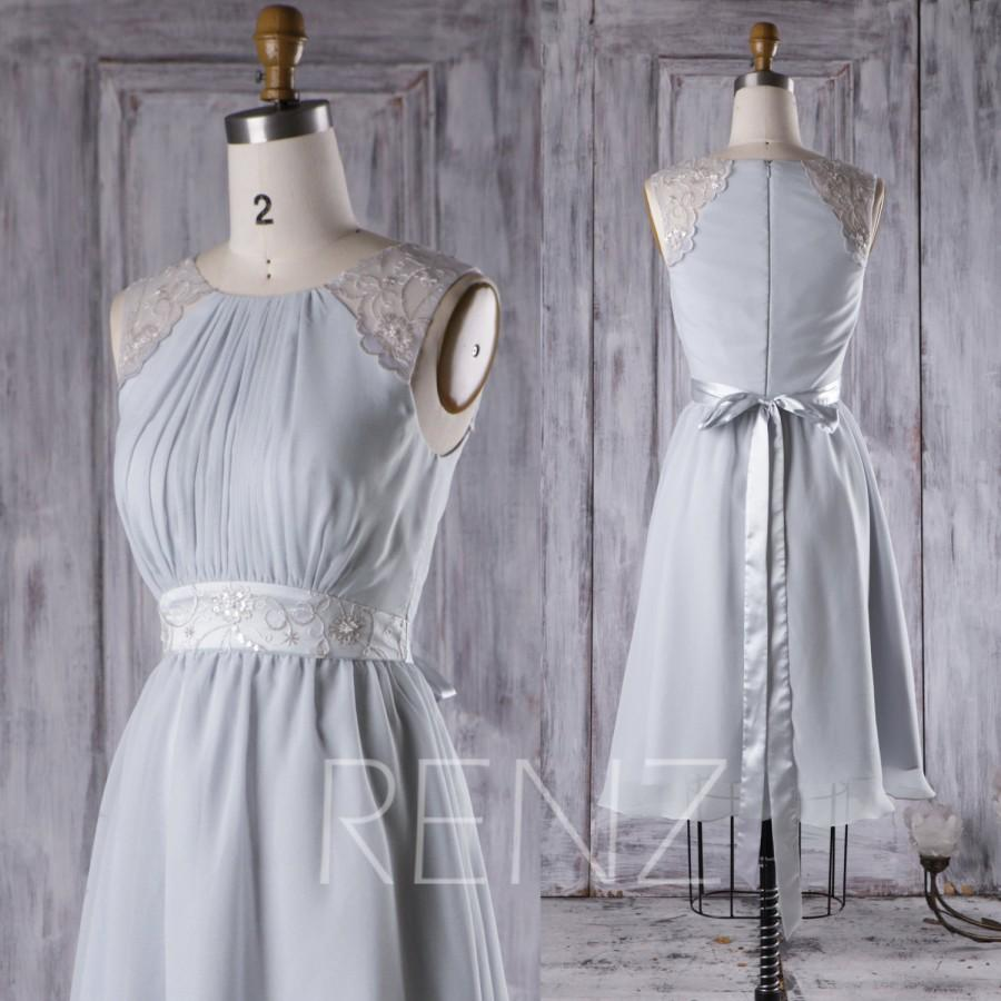 Mariage - 2017 Light Gray Chiffon Bridesmaid Dress, A Line Wedding Dress with Belt, Ruched Bodice Party Dress, Short Cocktail Dress Knee Length (H282)