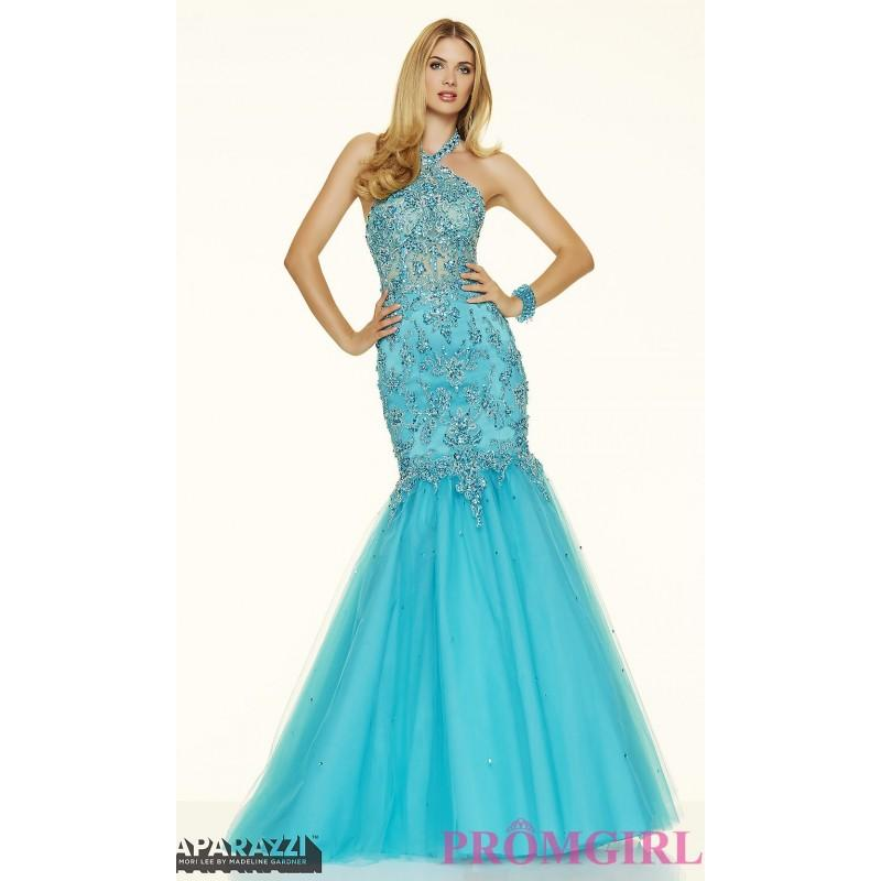 زفاف - Long Beaded Mermaid Style Halter Prom Dress by Mori Lee - Discount Evening Dresses