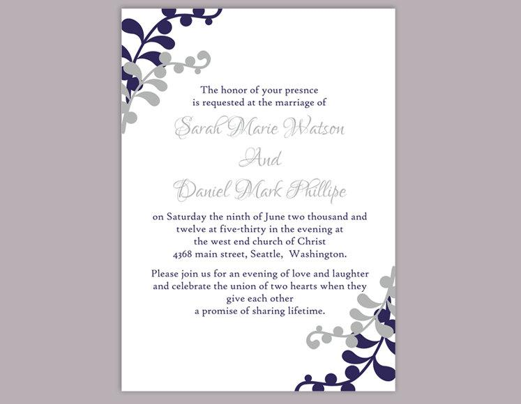 زفاف - Wedding Invitation Template Download Printable Invitations Editable Leaf Invitation Navy Invitations Blue Invitation Silver Gray Invitation - $6.90 USD