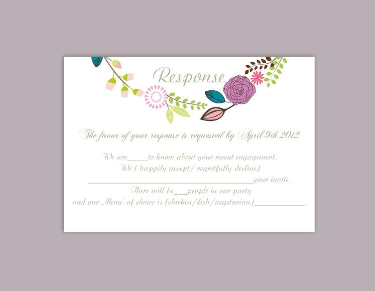 Diy wedding rsvp template editable word file instant download rsvp template printable rsvp cards for Wedding rsvp templates