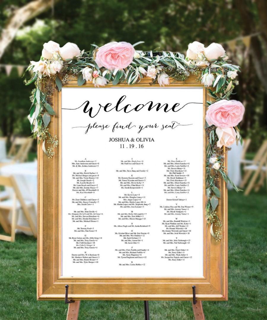 Wedding Seating Chart Editable Pdf Table Arrangement Sign Diy Minimal Elegance Instant