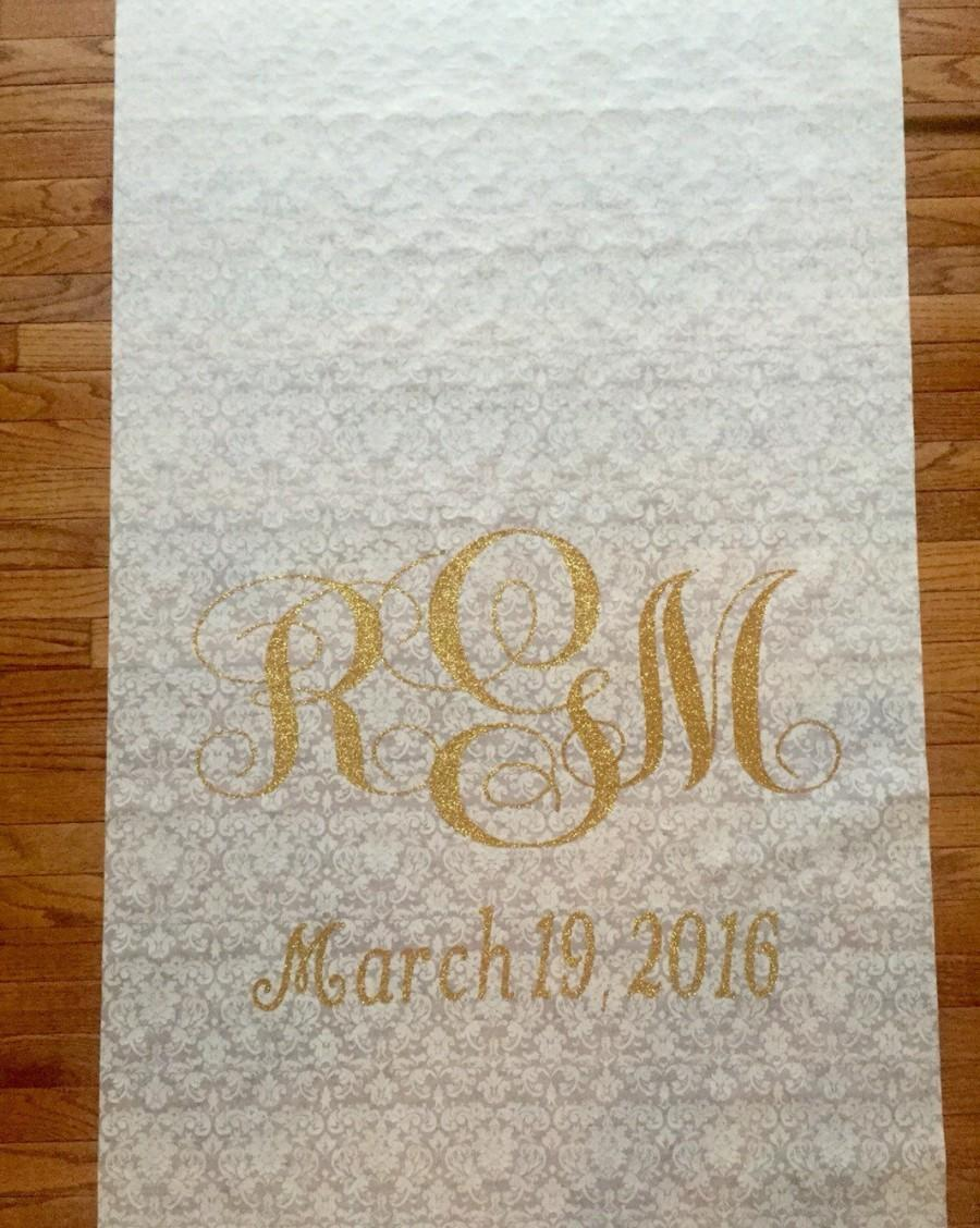 Свадьба - Initial Glitter Monogrammed Aisle Runner for  WEDDING or Special Event - 25ft - Personalized for YOUR ceremony