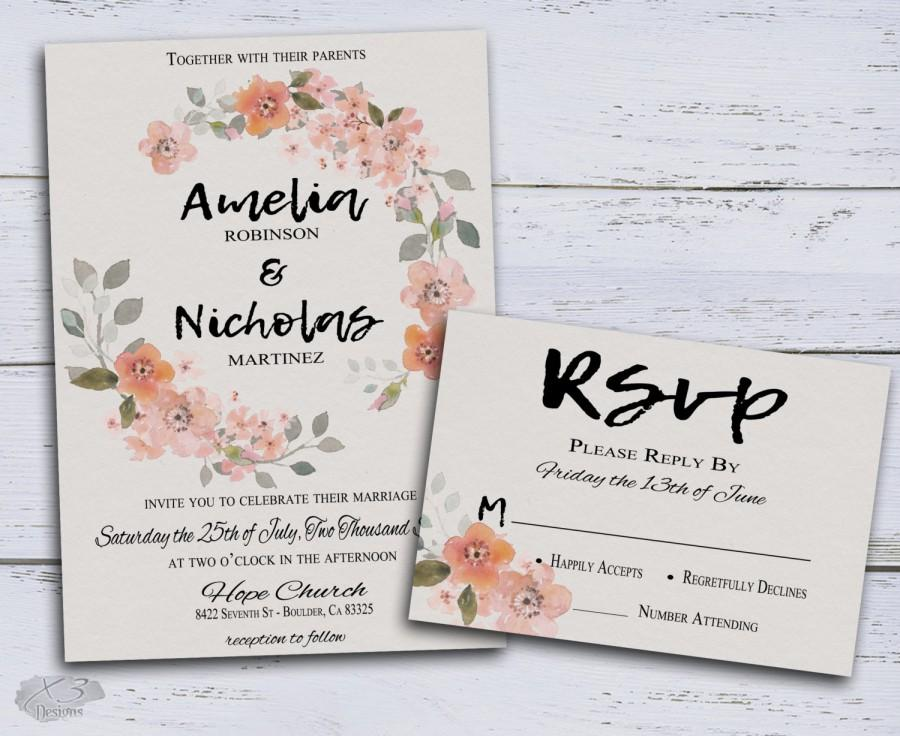 rustic wedding invite floral wedding invitation bohemian wedding