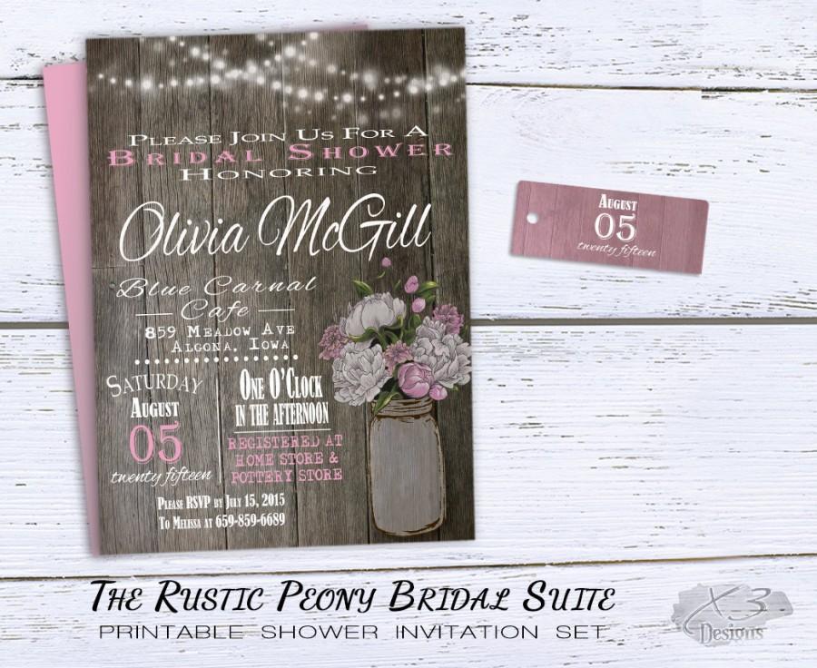 Mariage - Rustic Bridal Shower Invitation, Rustic Wedding Shower Invitations Pink Peonies