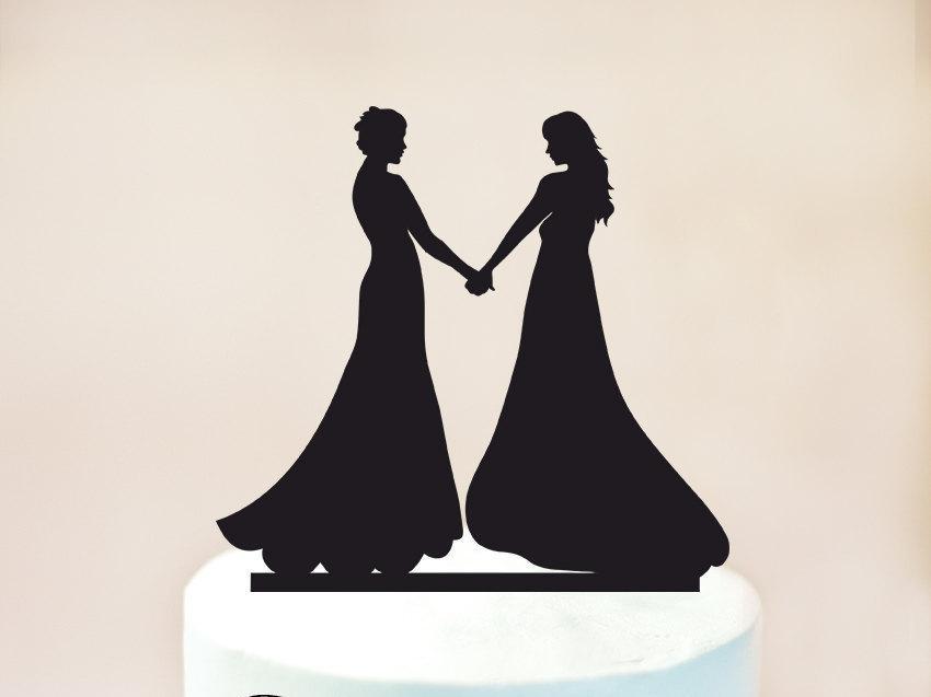 Mariage - Lesbian wedding cake topper,Lesbian cake topper,same sex cake topper,mrs and mrs wedding cake topper,lesbian silhouette cake topper (1037)