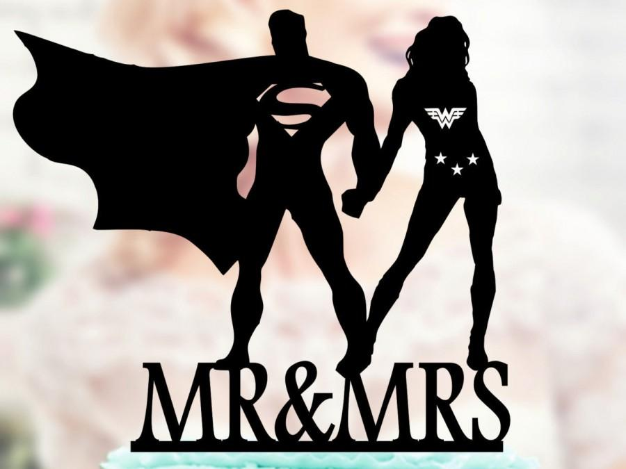 زفاف - Superman and Wonder woman Silhouette, Mr and Mrs Wedding Cake Topper, Bride and Groom Wedding Cake Topper, Cake Toppers superheroes