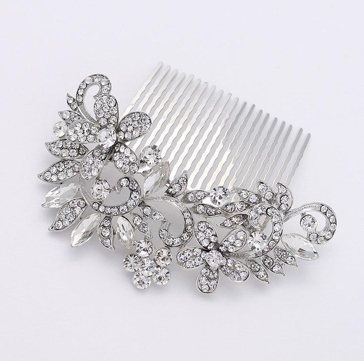 Mariage - Rhinestone Bridal Comb - Bride Hair Accessories - Wedding Hair Comb - Crystal Silver Comb - Vintage style Hair Comb - Bridal Head Piece