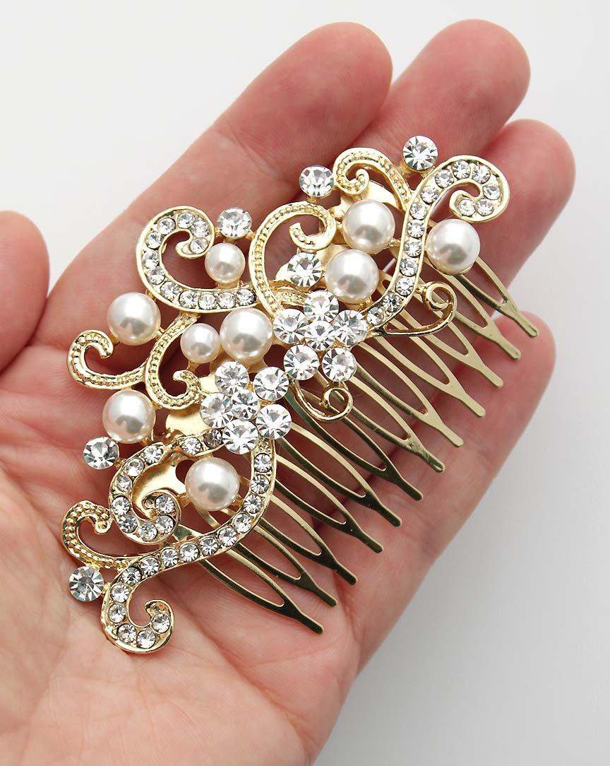 Mariage - Gold Bridal Comb, Pearl Wedding Hair Pin, Rhinestone Pearl Hairpiece, Pearl Bridal Hair Comb, Gold Vintage Wedding Hair Accessory