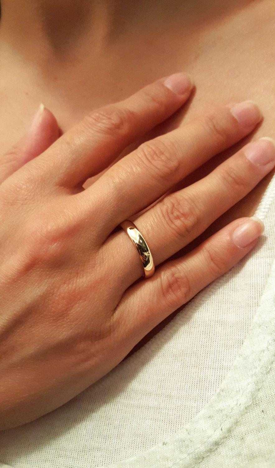 14k solid gold wedding engagement ring 14k gold his and hers men womens matching wedding bands classic wedding ring unisex wedding band - Classic Wedding Rings