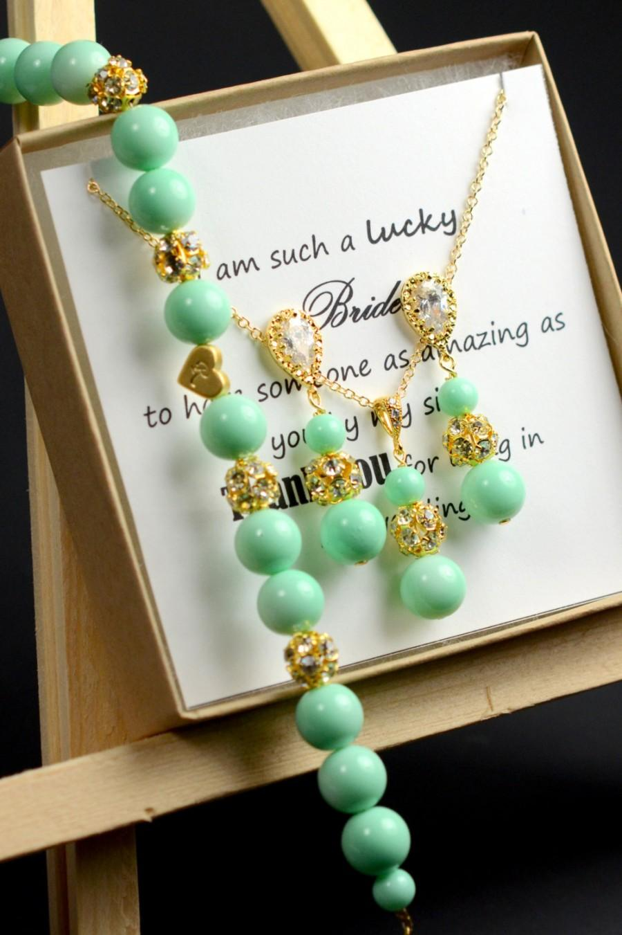 Wedding - mint green , mint bridesmaid jewelry ,mint bridesmaid necklace , mint gold , personalized bridesmaid jewelry,bridal party gift ,mint wedding