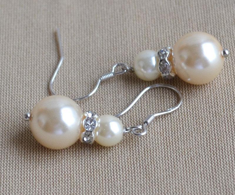 زفاف - Champagne  Pearl earrings,glass pearl earrings, earrings,dangle pearl earrings,Wedding earrings,bridesmaid earrings,Jewelry